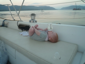 Her first cruise up the Hudson River, 9 months old